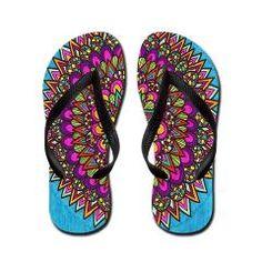 Mountain Lake Flip Flops by Erin Jordan