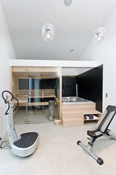 Osice House Interior by OOOOX Indoor hot tub, sauna and work out area…yes please! Osice House Interior by OOOOX Sauna Design, Home Gym Design, House Design, Floor Design, Design Design, Design Ideas, Indoor Jacuzzi, Indoor Sauna, Indoor Hot Tubs