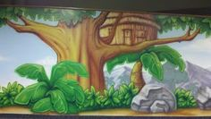 Worlds of Wow - A beautiful treehouse mural as part of a bigger theme project at Church on the Rock. #kidmin #children #kids #ministry #theming