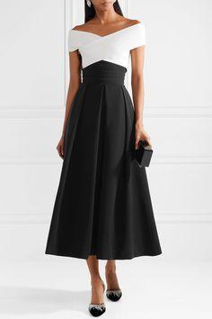Preen by Thornton Bregazzi - Virginia Off-the-shoulder Stretch-cady Midi Dress - Black