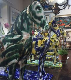 Mark Hearld's hand painted slip cast horses. Further horses will be exhibited at York Art Gallery from 1st August 2015 http://allthingsconsidered.co.uk/2015/04/mark-hearlds-horses.html
