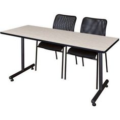 Kobe 72 inch x 24 inch Training Table in Multiple Colors and 2 Mario Stack Chairs, Black, Brown