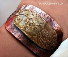 ☯☮ॐ American Hippie Bohemian Style ~ Etched brass and hammered copper riveted cuff!