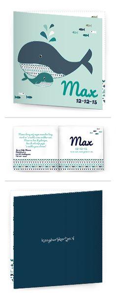 Bekijk de leukste kaartjes op onze site | http://www.kissgeboortekaartjes.nl | #baby #geboortekaartje  #kissgeboortekaartjes #walvis #jongen #scandinavie