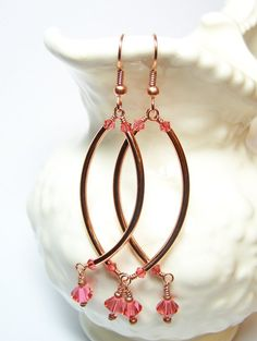 """Swing Dance""  Copper and Crystal Earrings"