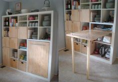 9 Ingenious Small Kitchen Storage Ideas: A Storage System That Packs a Small Kitchen Table. Here's a great Ikea hack that whips up kitchen storage. Ikea Craft Room, Craft Room Storage, Table Storage, Storage Cabinets, Storage Ideas, Storage Hacks, Craft Rooms, Storage Solutions, Cabinet Drawers