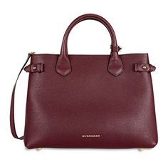 Burberry Medium Banner Leather Tote – Mahogany Red