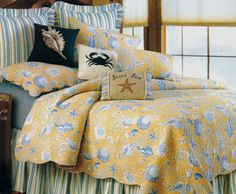 Taupe Shells Quilt Bedding by C & F   Available at Home by the Sea