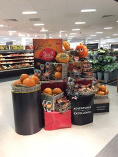 "How Waitrose tackle Halloween. Simple display. Great new product called ""munchkin"" baby pumpkins for £1. #halloweendisplay"
