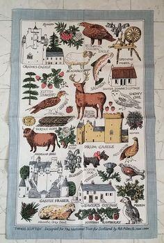 NWOT Things Scottish Scotland National Trust Tea towel Pat Albeck Linen Castles $15.99