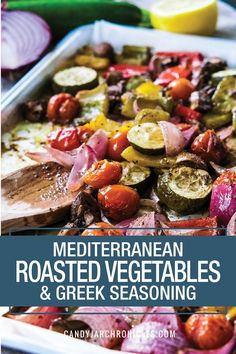 Homemade Greek Seasoning & Mediterranean Roasted Vegetables, together, will rock your side dish world! A spice blend loaded with greek flavours that can be used in multiple ways, but as a marinade on roasted vegetables is my favourite! Greek Vegetables, Roasted Mediterranean Vegetables, Marinated Vegetables, Easy Mediterranean Diet Recipes, Roasted Vegetable Recipes, Mediterranean Dishes, Seasoning For Roasted Vegetables, Veggies, Grilled Vegetable Marinade