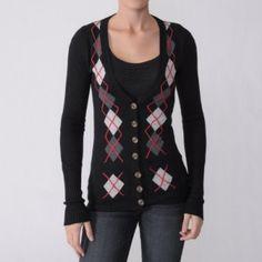 Women Argyle Sweater