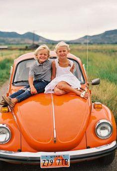 Love this bright orange VW Beetle; when I have kids and a bright orange Beetle, this'll happen. Vw Bus, Combi Ww, Foto Fun, Vw Vintage, Pt Cruiser, Hippie Man, Orange You Glad, Orange Crush, Cute Cars