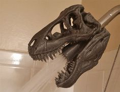 3D Printed T-REX Skull Shower Head would be so cool in my future greenhouse shower!!! MirskyArtGallery
