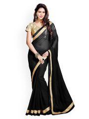 Black Faux Georgette Saree Price: INR 2195.76865 | India