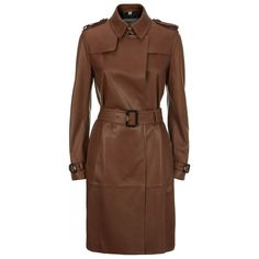 Burberry London Cullingham Leather Trench Coat (5,825 CAD) ❤ liked on Polyvore featuring outerwear, coats, trench coat, burberry coat, genuine leather coat, leather trenchcoat and wrap coat