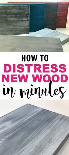 How to distress new wood in minutes. Use this how to for distressed furniture, distressed Farmhouse signs and much more. I can't believe what a time saver this is! Distressing new wood has never been easier!