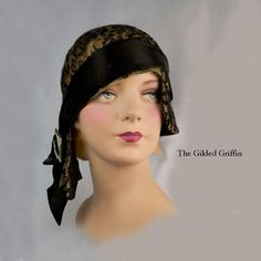 Vintage 1920s Couture Hat: Cloth of Gold, Silk French Chantilly Lace, Silk Satin and Crystal Bejeweled Buckle Trim. Exceptionally Rare