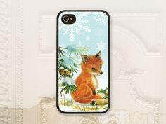 Winter fox cell phone case, iPhone 4 4S, iPhone 5 5S, Galaxy S3, Seasonal phone case, Holiday case, Christmas fox, Aqua snowflake cover