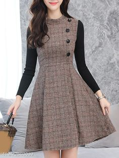 Round Neck Patchwork Single Breasted Plaid Skater Dress - Fashion & Dresses - Dresses for Work Outfits Casual, Mode Outfits, Casual Dresses For Women, Clothes For Women, Unique Outfits, Women's Dresses, Women's Fashion Dresses, Dress Outfits, Skater Dresses