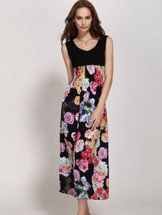 V Neck Floral Printed Patchwork Maxi-dress
