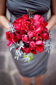 red and grey tulip bouquet bridesmaid dress wedding brides of adelaide magazine