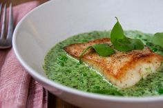 Fat of the Land: Halibut with Nettle Sauce, Peas & Miner's Lettuce