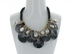 Stylized Petals and Bling Necklace - A beautiful statement necklace to jazz up any outfit!