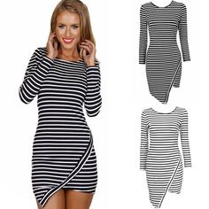 Women s Striped Irregular Crew Neck Long Sleeve Party Casual Mini Dress 2 Colors