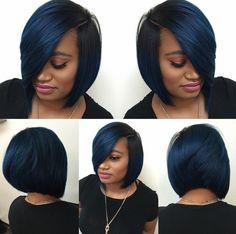 Dope blue bob via - Black Hair Information - Short Bob Hair Styles Black Girls Hairstyles, Short Bob Hairstyles, Bob Haircuts, Braided Hairstyles For Black Hair, Amazing Hairstyles, Curly Hair Styles, Natural Hair Styles, Black Hair Styles Bob, My Hairstyle