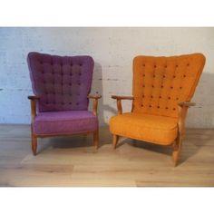 Paire de fauteuils orange et violet, GUILLERME et CHAMBRON - années 50