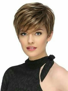 Short Fluffy Brown Mix Blonde Hair Wigs with Bangs Heat Resistant Synthetic Hair Capless Wig - Hairstyles For Women Short Hairstyles For Thick Hair, Short Hair With Layers, Wig Hairstyles, Curly Hair Styles, Haircut Short, Fashion Hairstyles, Hairstyles 2016, Natural Hairstyles, Trendy Hairstyles