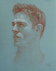 'The surfer' by Rita Foster, 2010. Red conte and white chalk on light blue gray Utrech Milani paper.