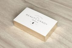 Beauty Candy business cards - white with gold edging