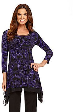 Investments Paisley Asymmetrical Tunic on shopstyle.com Dillards, Paisley, Tunic Tops, Style Inspiration, Blouse, Tees, How To Wear, Stuff To Buy, Shopping