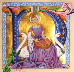 Saint Cecilia enthroned on swans. Gouache and gold leaf on vellum. 4 x 4.5 inches.