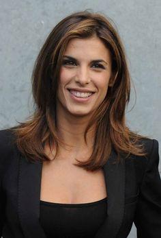 Elisabetta Canalis brunette, layered hairstyle