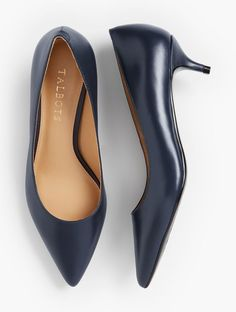Shop Talbots for modern classic women's styles. You'll be a standout in our Sylvie Kitten-Heel Pumps - Leather - only at Talbots! Kitten Heel Shoes, Low Heels, Pumps Heels, Studded Heels, Clearance Shoes, Pretty Shoes, Leather Pumps, Purses, Kitten Heels