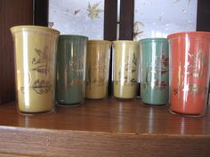 Mid Century Plastic Tumblers Cups Leaf Maple Oak Orange Green Yellow Metallic Gold Burrite Tall Set of 6 Retro Camper Glamping
