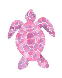 Pink and Purple Watercolor Sea Turtle Art Print | Beach Bedroom | Ocean Bedroom | Coastal Bedroom | Girls Bedroom | Nursery Wall Art