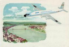 Malév IL-18 repülőgép reklám Hungary, Vintage Posters, Transportation, Aviation, Aircraft, Vehicles, Airplanes, Travel, Postcards
