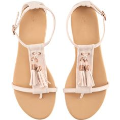 H&M Sandals (25 CAD) ❤ liked on Polyvore featuring shoes, sandals, flats, sapatos, zapatos, women, pointed-toe ankle-strap flats, tassel sandals, toe strap sandals and flat pump shoes