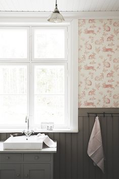 P ö m p e l i York Wallcoverings Bunny toile wallpaper french country bathroom                                                                                                                                                                                 More