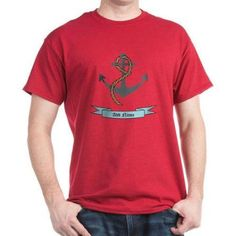 Cafepress Personalized Name Anchor Dark T-Shirt, Size: XL, Red