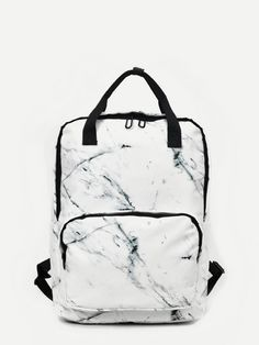 Marble Print Square Backpack