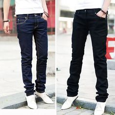 Stylish Men Casual Jeans Pencil Pants Designed Straight Slim Fit Trousers