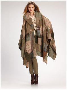 Ralph Lauren Blue Label Wool/cashmere Patchwork Poncho in Brown (tan)
