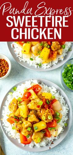 This Sweetfire Chicken is a perfect Panda Express copycat with chicken, red pepper, onion and pineapple in a spicy sweet chili sauce. #pandaexpress #sweetfirechicken Sweet Fire Chicken, Chicken Over Rice, Whole Food Recipes, Vegan Recipes, Copycat Recipes, Delicious Recipes, Clean Eating Recipes, Healthy Eating, Pineapple Chicken