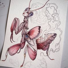 Bit of WIP of the orchid mantis gal by Caitlin Hackett...sweet!
