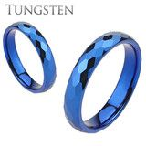 Blue Zephyr - Blue IP Tungsten multi-faceted wedding band